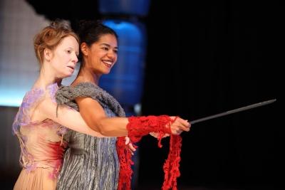 Nia Gwynne and Jaye Griffiths in Gwyneth Lewis' Clytemnestra
